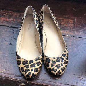 J.crew calf hair leopard shoes